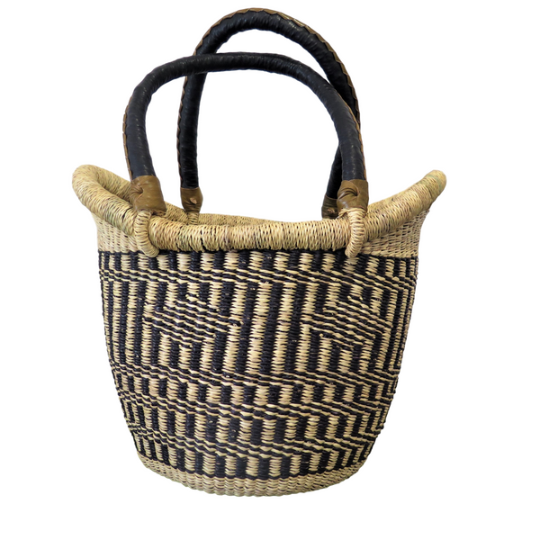 Natural and  Black Ghana Basket - Small Nyariga