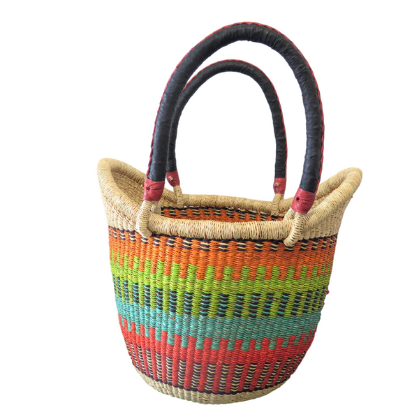 Black, Orange, Green, Red and Teal Ghana Basket - Small, Nyariga
