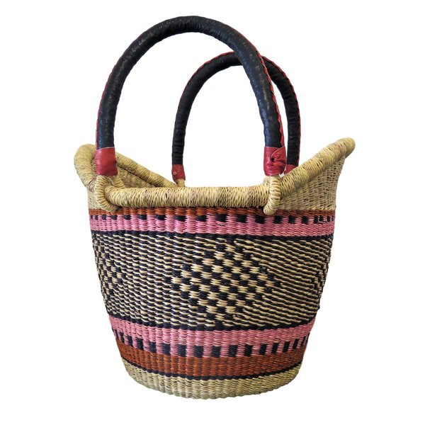 Pink, Black, Brown  and Orange Ghana Basket - Small,  Nyariga