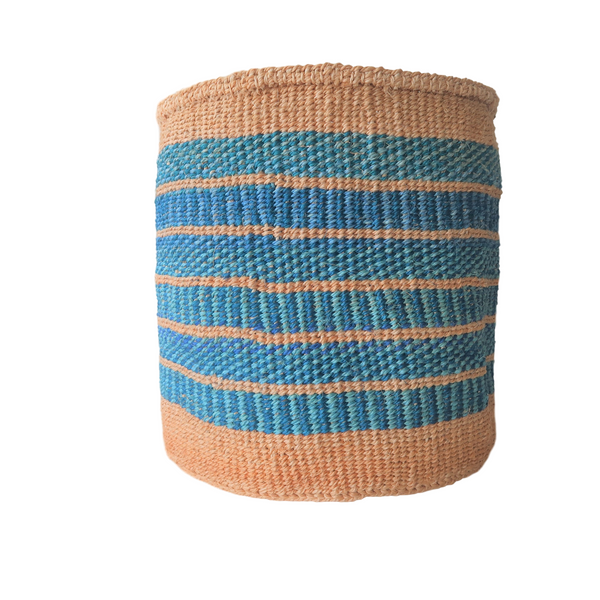 Lg Blue and Turquoise Handmade Kenyan Basket