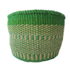 Lg Green and Cream Handmade Kenyan Basket
