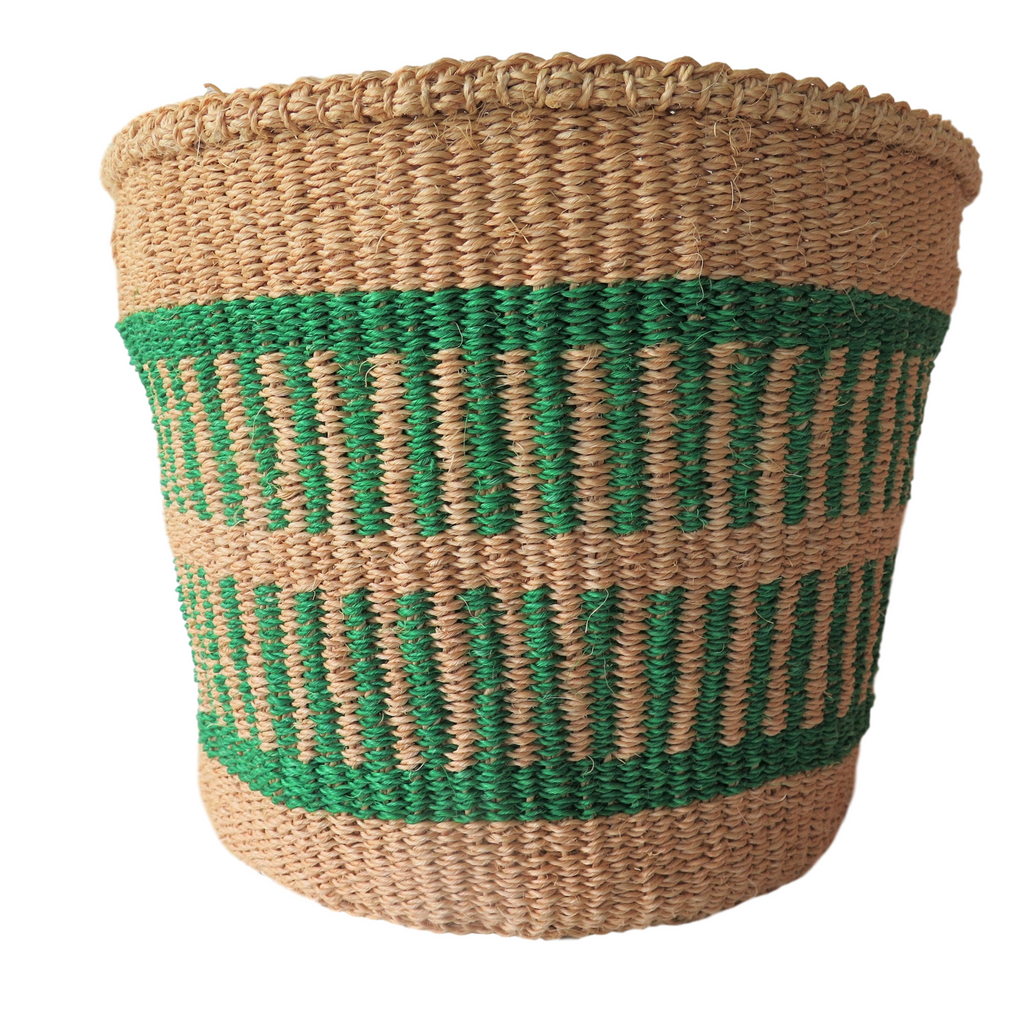 Medium Green and Natural Handmade Kenyan Basket