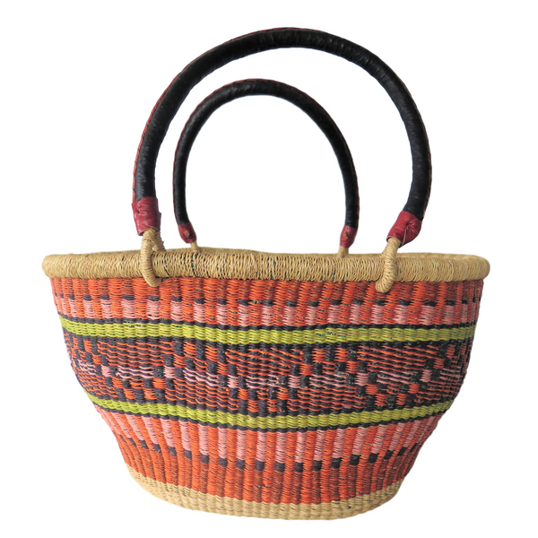 Lg  Orange, Green Pink and Black Handwoven Ghana Basket