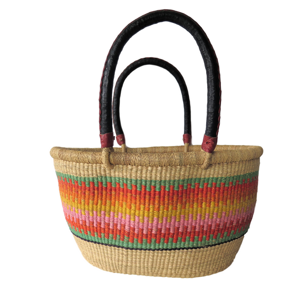 Lg  Yellow Orange, Pink and Green Handwoven Ghana  Basket