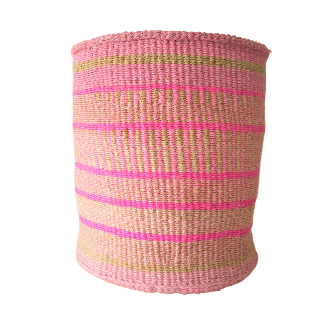 Lg Pink and Natural Handmade Kenyan Basket