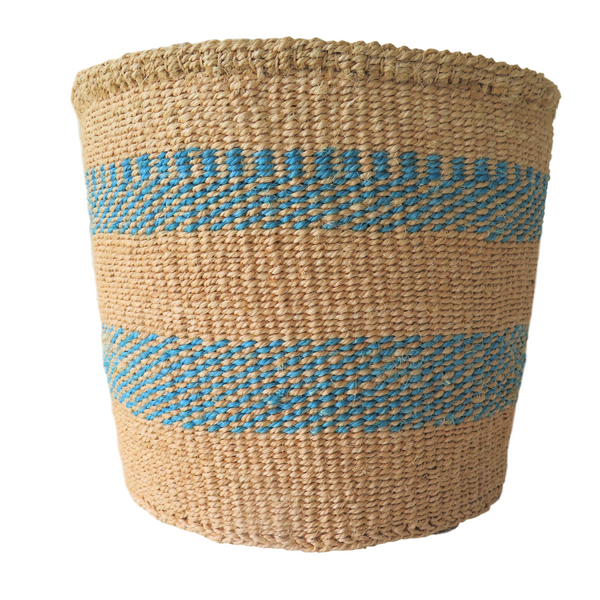Lg Turquoise and Brown Handmade Kenyan Basket