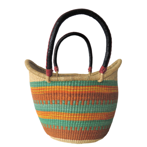 Lg  Yellow, Orange, Green and Brown Handwoven Ghana Nyariga Basket