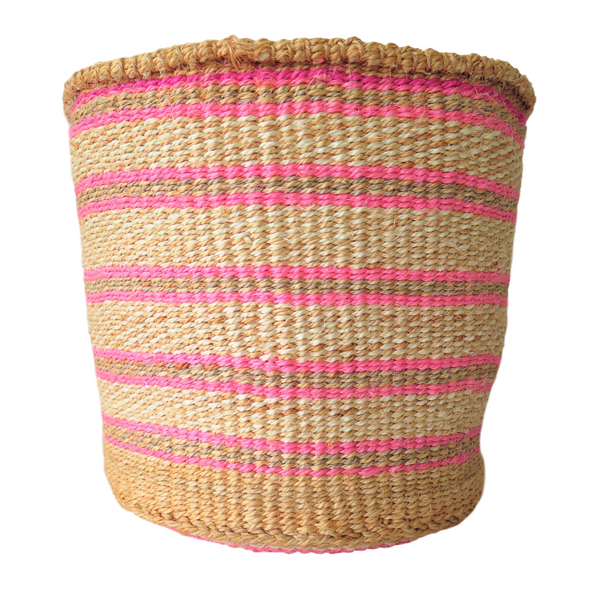 Medium Pink, Cream and Brown Handmade Kenyan Basket