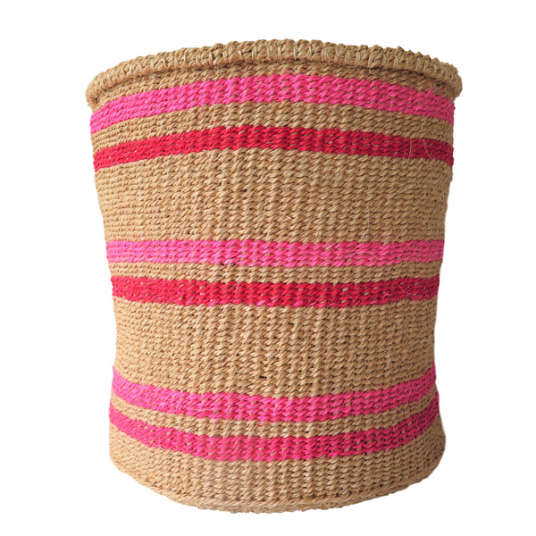 Medium Pink, Red and Natural Handmade Kenyan Basket