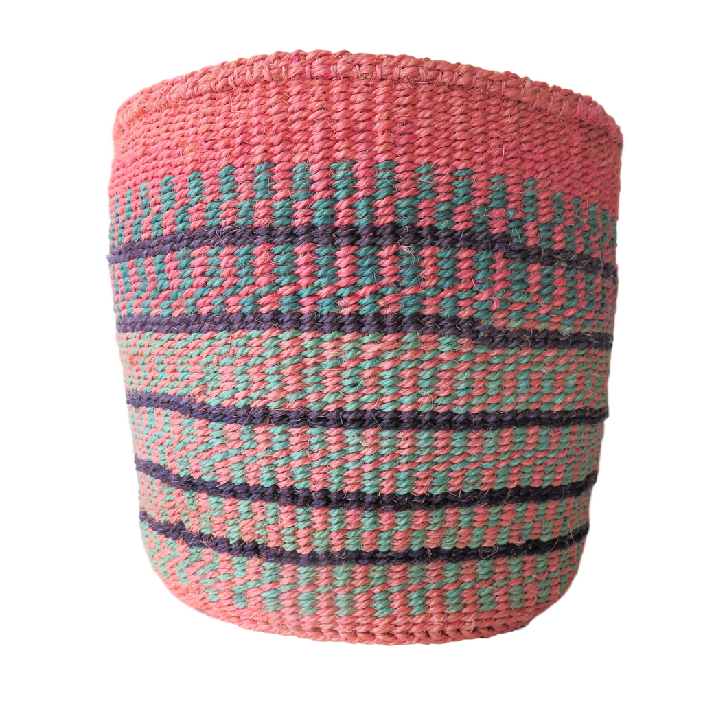 Medium Pink, Turquoise and Black Handmade Kenyan Basket