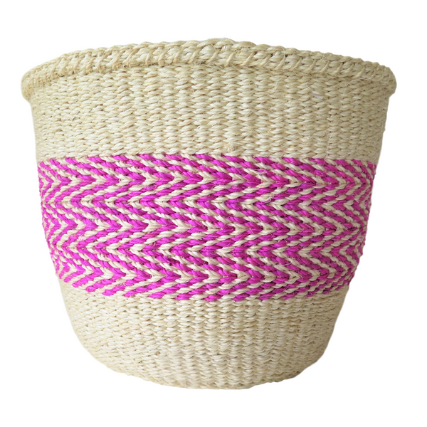 Medium Pink and Cream Handmade Kenyan Basket