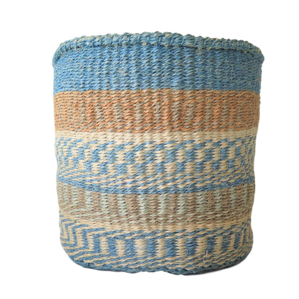Nedium Blue, Cream  and Natural Handmade Kenyan Basket