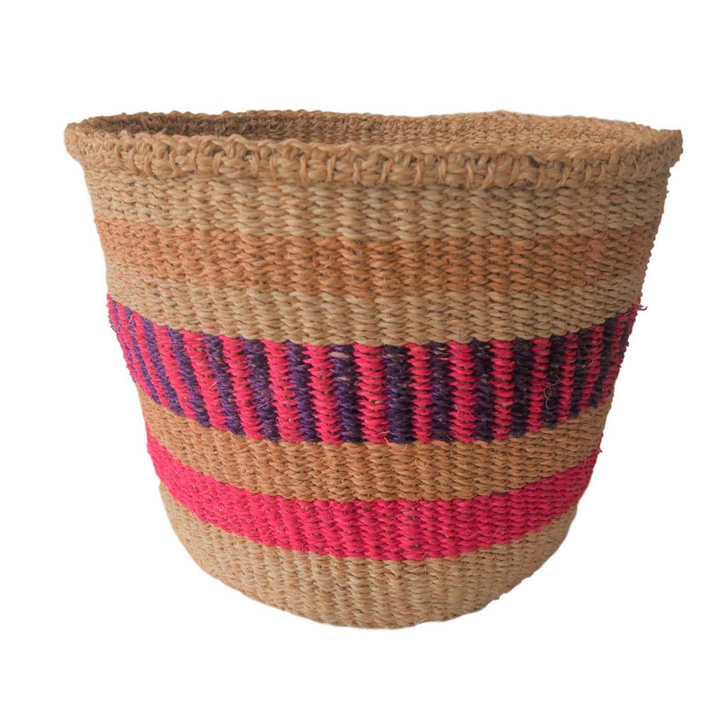 Med Pink, Purple and Cream Handmade Kenyan Basket