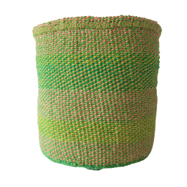 Med Green and Yellow Handmade Kenyan Basket