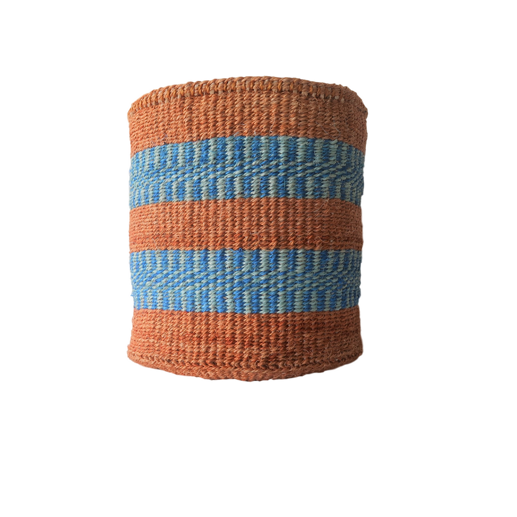Medium Blue and Brown Natural Handmade Kenyan Basket