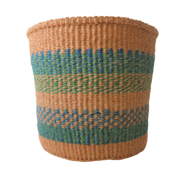 Medium Green, Blue and Natural Handmade Kenyan Basket