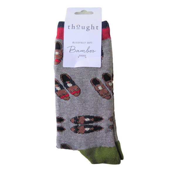 Grey Slipper Socks  Size 7 - 11