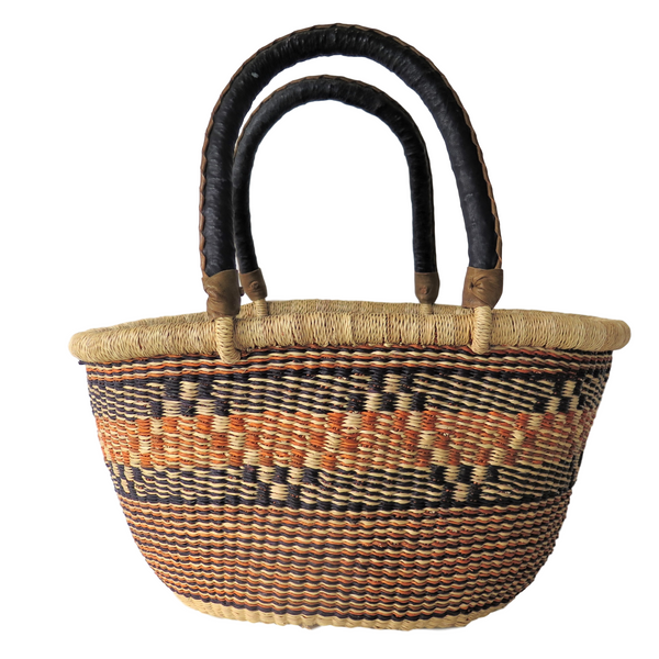 Sm  Orange, Brown and Black Handwoven Ghana Basket
