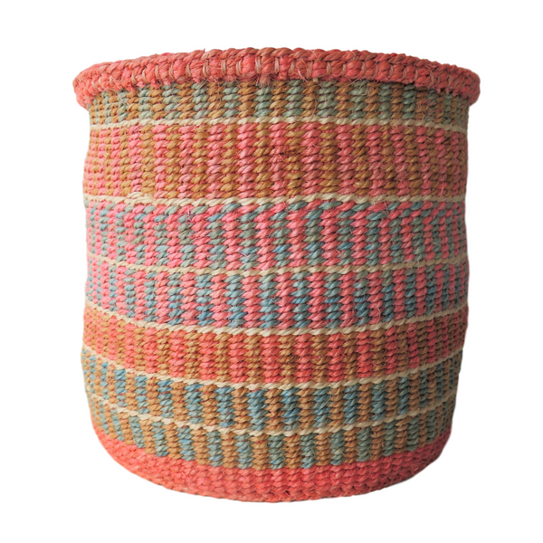 Sm Pink, Blue and Cream Handmade Kenyan Basket