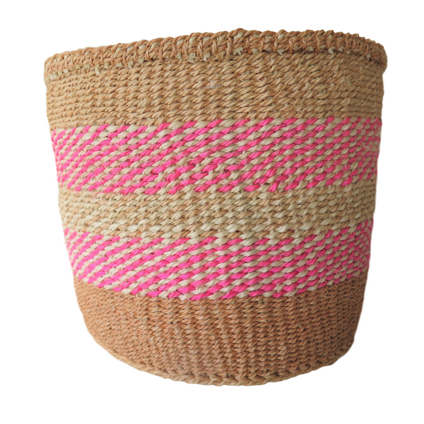 Sm Pink, Cream and Brown Handmade Kenyan Basket
