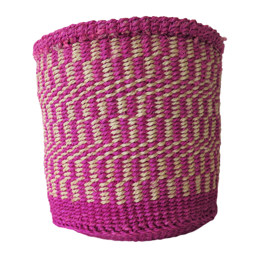 Sm Pink and Cream Handmade Kenyan Basket