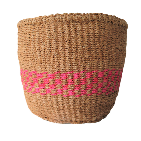 Sm Pink and Natural Handmade Kenyan Basket