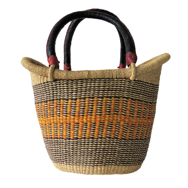 Sm  Yellow Orange, Brown and Black Handwoven Ghana Nyariga Basket
