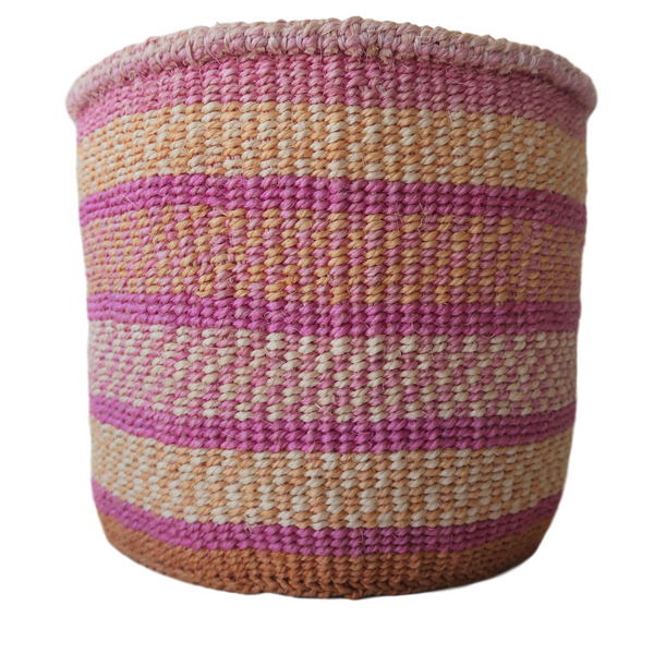 Sm Pink, Natural and Cream Handmade Kenyan Basket