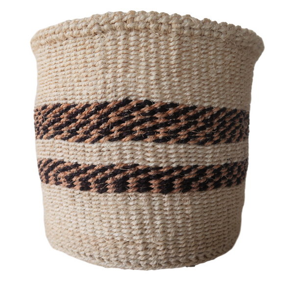 Sm Cream, Black and Brown Handmade Kenyan Basket