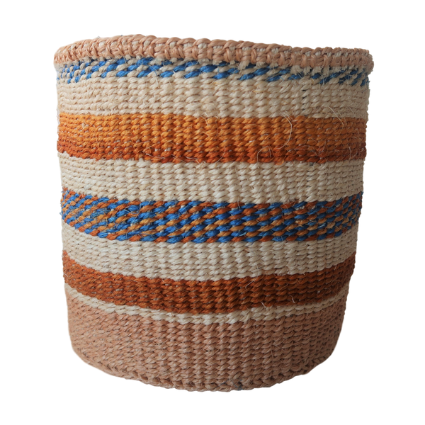 Sm Cream , Blue and Brown Handmade Kenyan Basket