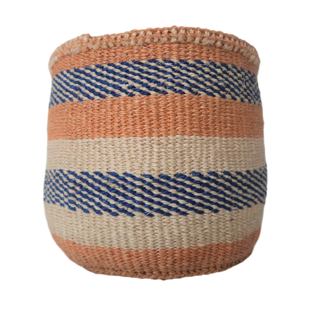 Sm Blue, Cream  and Natural Handmade Kenyan Basket