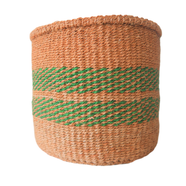 Sm Green and Brown Handmade Kenyan Basket