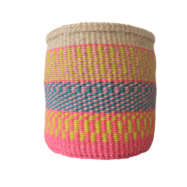 Sm Pink, Teal  and Yellow handmade Kenyan Basket