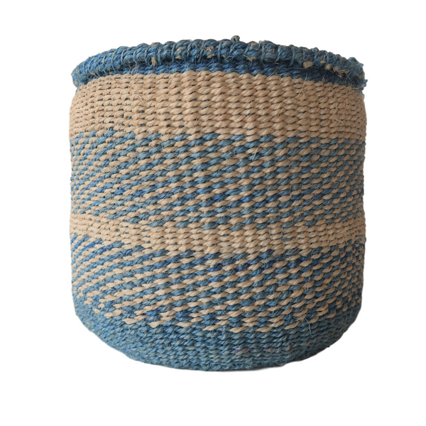 Sm Blue and Cream Handmade Kenyan Basket