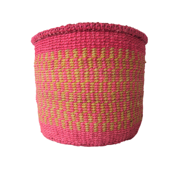 Sm Pink and Yellow Handmade Kenyan Basket