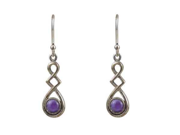 Amethyst Drop Sterling Silver Earrings