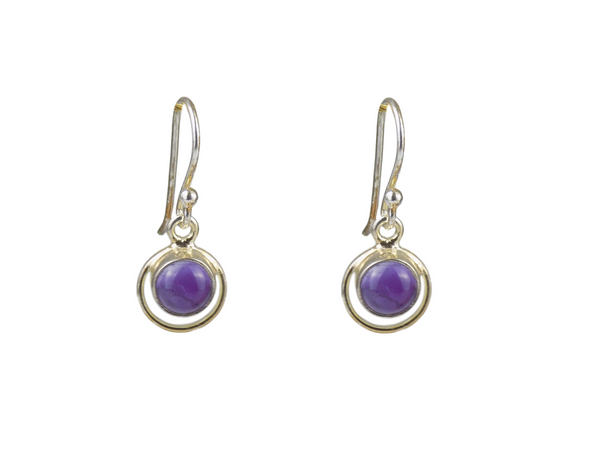 Amethyst Round with Hoop Surround  Sterling Silver Earrings