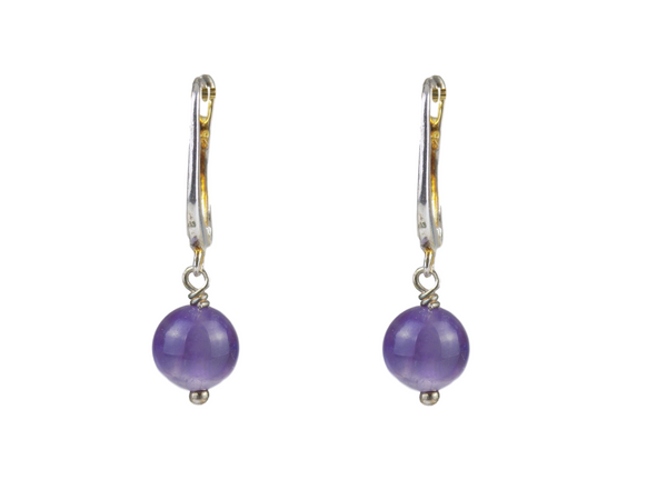 Amethyst Round Drop Sterling Silver Earrings
