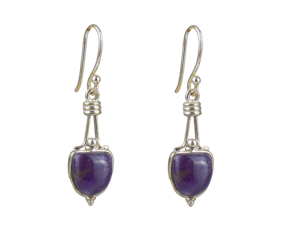 Amethyst Shield Shape Sterling Silver Earrings