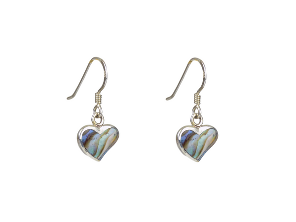 Blue/Green Abalone Heart Shaped Sterling Silver Drop Earrings
