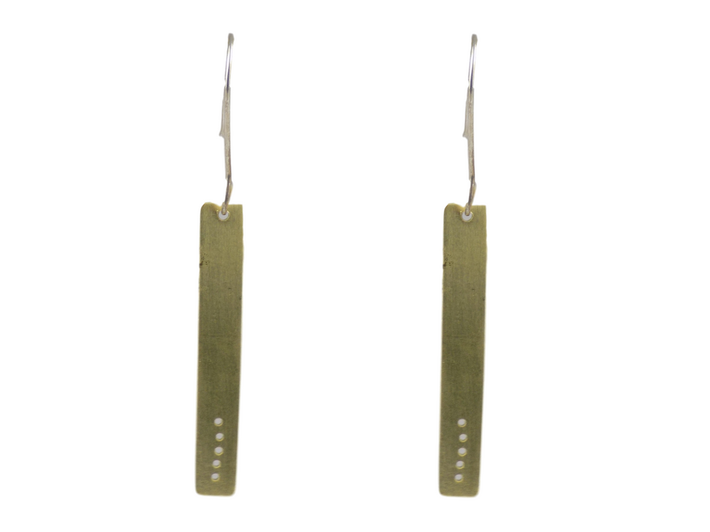 Narrow Rectangular Brass Earrings