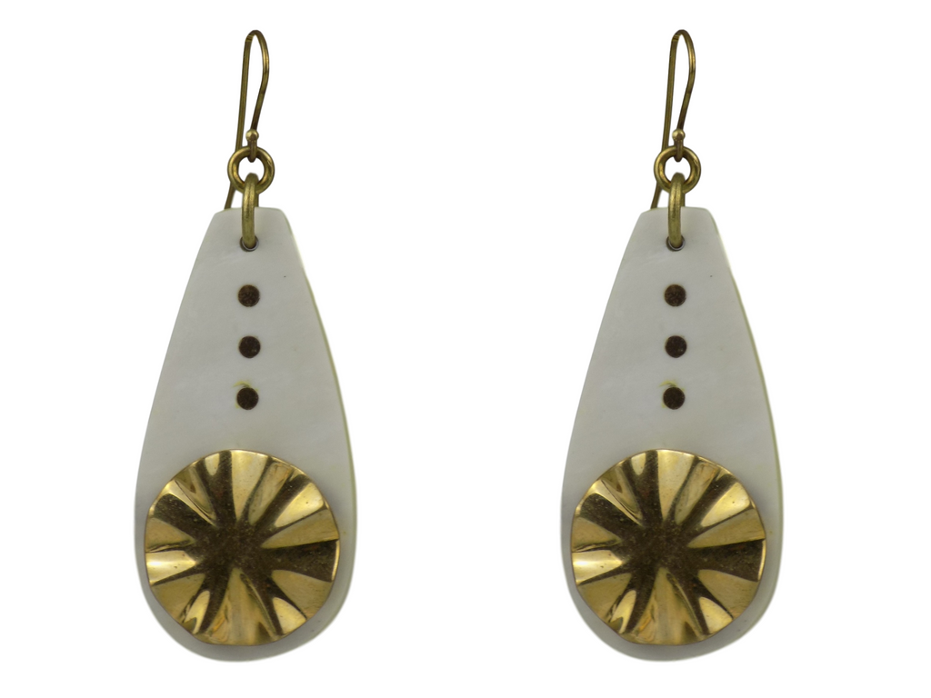 Teardrop Design Brass Earrings
