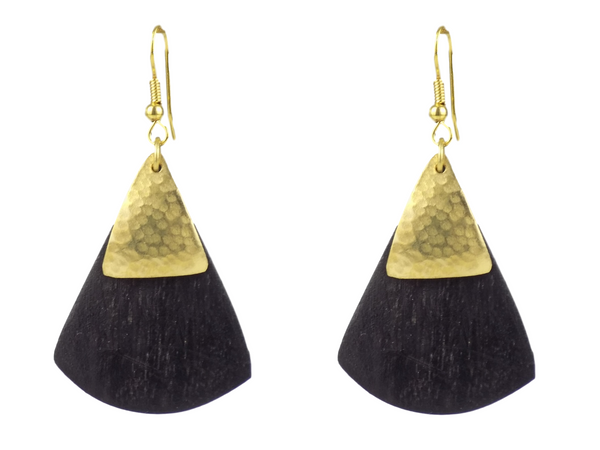 Fan Design Black Wood and Brass Earrings