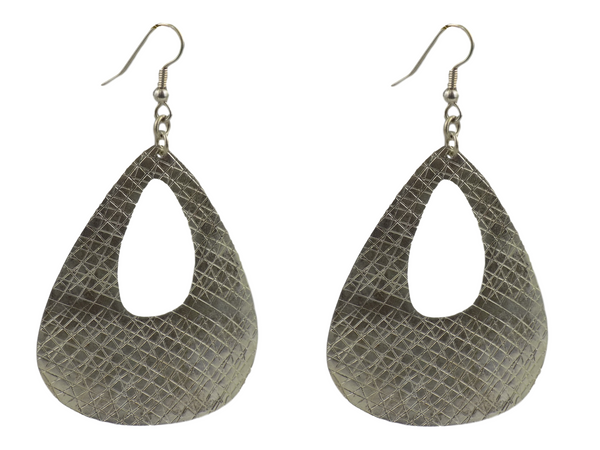Large Teardrop with Cutout Silverplate Brass Earrings