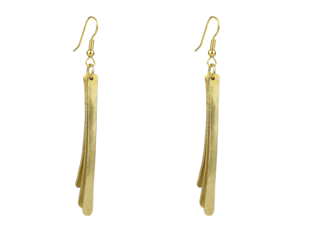 Triple Strip Brass Earrings