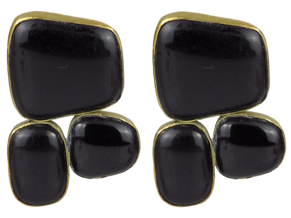 Black Pebbles Set In Brass Earrings