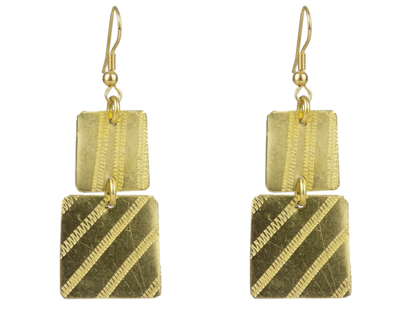 Double Square Brass Earrings