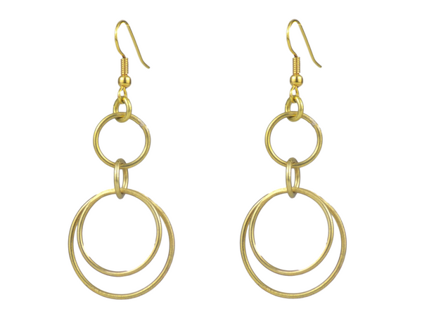 Linked Ringed Brass Earrings