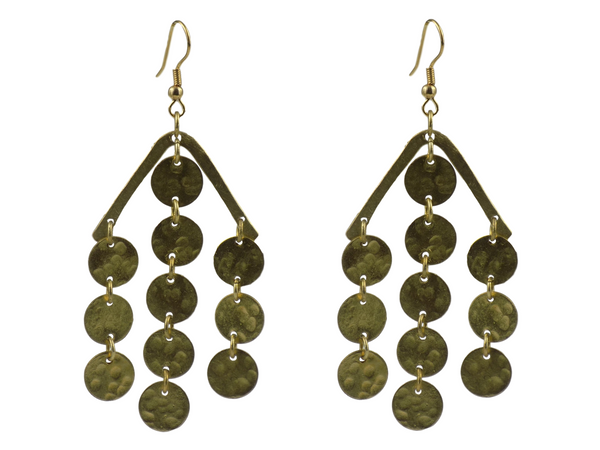 Hanging Coins Design Brass Earrings