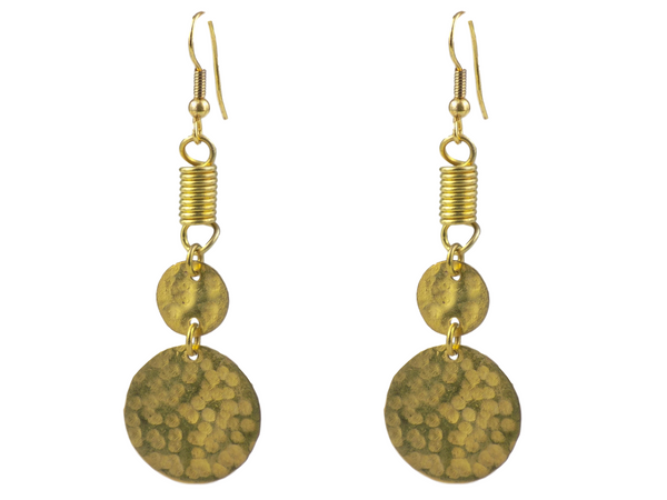 Double Coin Brass Earrings